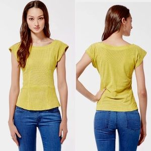 Lucky Brand Perforated Suede Lime Peplum Top Sz S